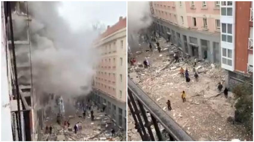 Fuerte explosión en el Centro de Madrid deja un edificio destruido