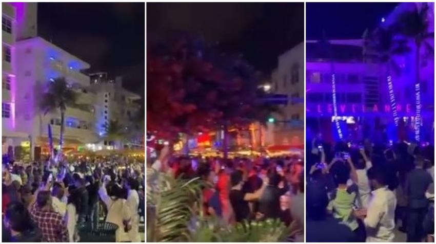 Gran concentración de personas en Miami Beach para esperar el 2021; muchos sin máscaras y sin distancia social