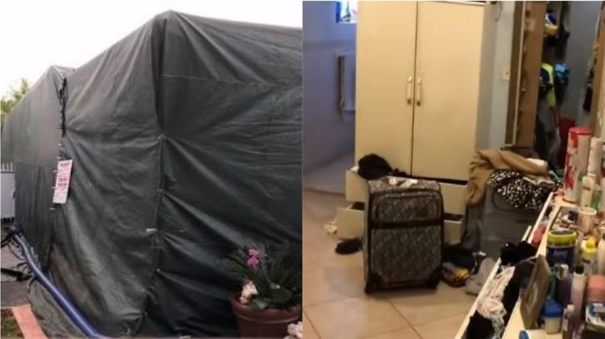 Saquean en Miami una casa cubierta con una carpa de fumigación