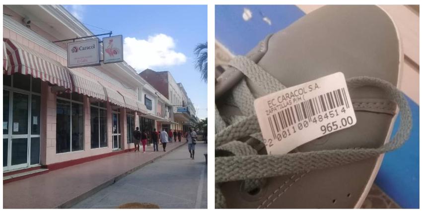 Venden zapatos deteriorados como merma comercializable, en casi 1.000 pesos en una tienda en Cienfuegos