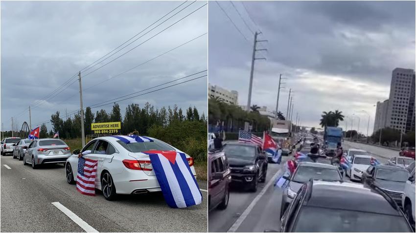 Gigantesca caravana de cubanos en Miami en contra del comunismo y la flexibilización de las relaciones con la dictadura de Cuba