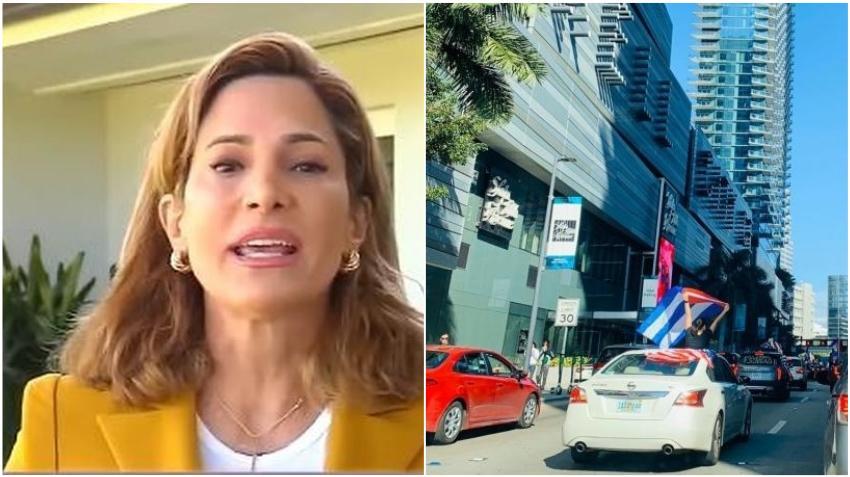Congresista cubanoamericana María Elvira Salazar da su apoyo a la Caravana en Miami contra el acercamiento con la dictadura cubana