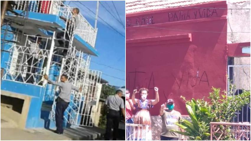 Agentes de la Seguridad del Estado en Cuba pintan de rojo la casa de José Daniel Ferrer