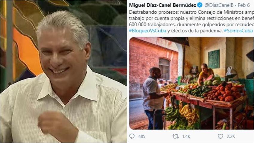 """Miguel Díaz-Canel comparte una foto de un agromercado en Cuba lleno y los cubanos en Twitter lo llaman """"mentiroso"""""""