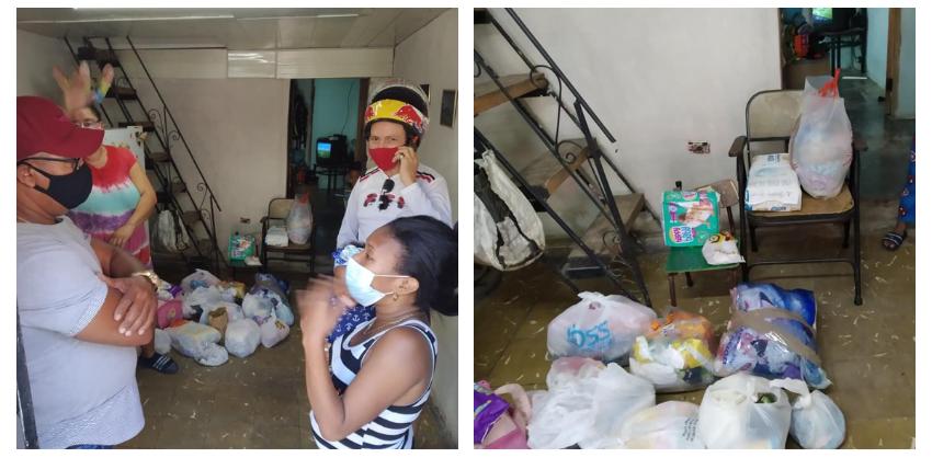 Motoristas cubanos llevan ayuda a la familia que perdió todo en un incendio en el Cerro