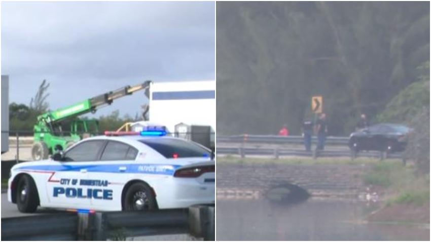 Tres personas muertas y un herido después de que un auto cayera en un canal en Miami-Dade