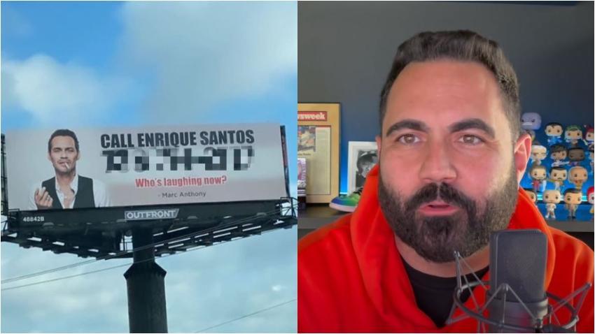 Marc Anthony se desquita de la broma de Enrique Santos y publica una valla en Hialeah pidiendo que llamen al presentador cubanoamericano