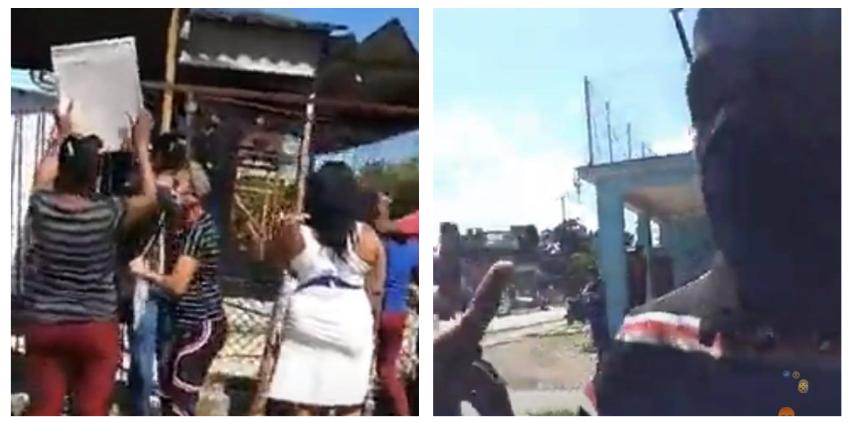 Segurosos le van arriba a un hombre que grababa con su celular el mitín de repudio afuera de la casa de la activista Anyell Cruz