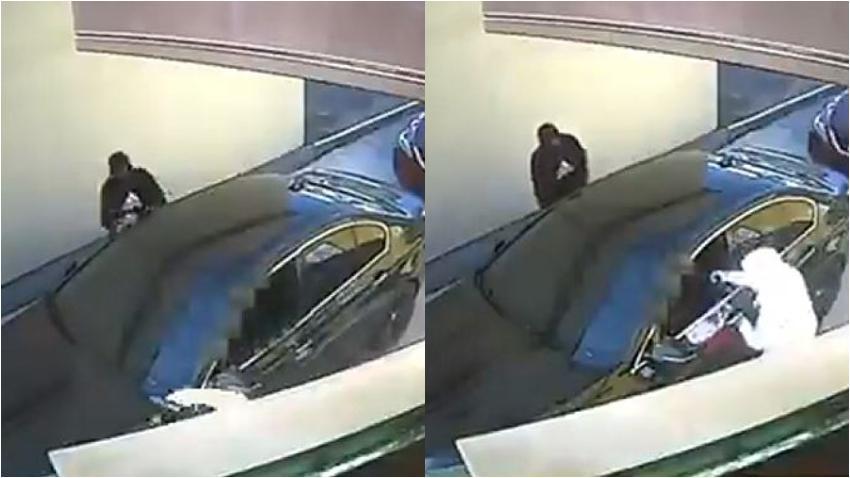 """Captan en cámara como dos ladrones emboscan a un hombre que hacía orden en un """"drive-thru"""" de Pollo Tropical en Miami Dade"""