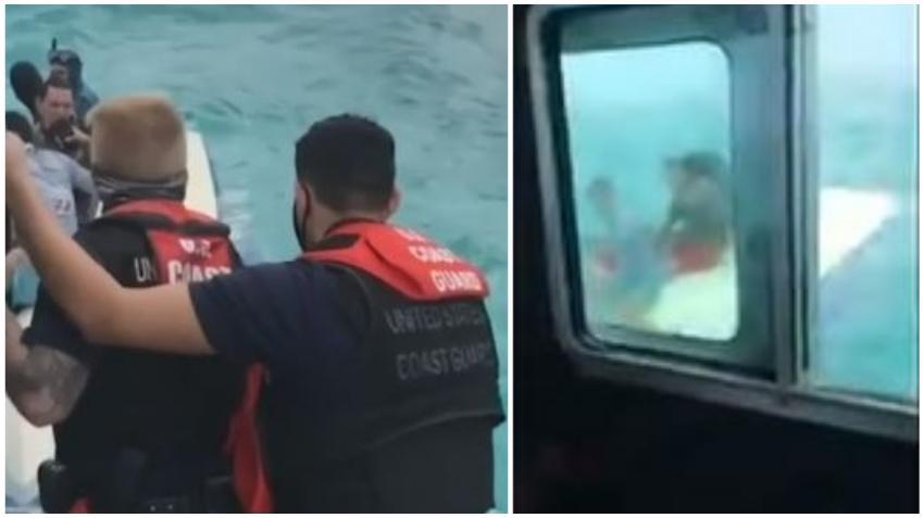Guardia Costera de los Estados Unidos rescata a 4 hombres sentados sobre su bote luego que este se volcara en Biscayne Bay