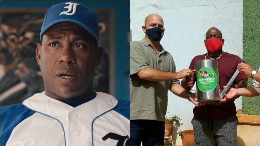 Ex pelotero cubano Carlos Tabares recibe una regadera como premio por parte del espía Gerardo Hernández