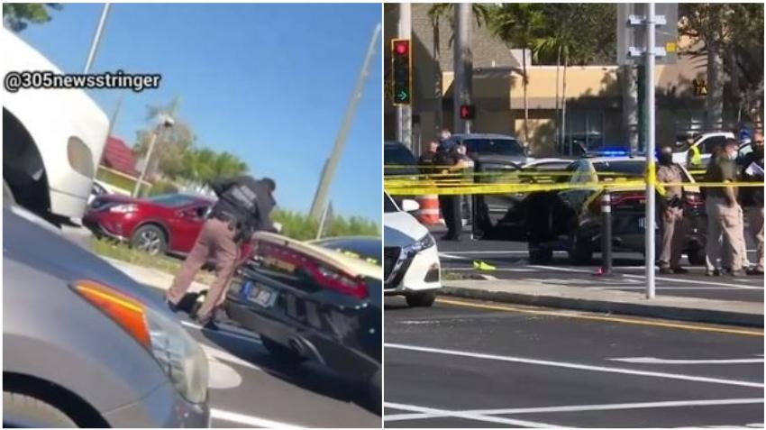 Un hombre sale de su auto y comienza a disparar contra un policía dentro de una patrulla en Miami