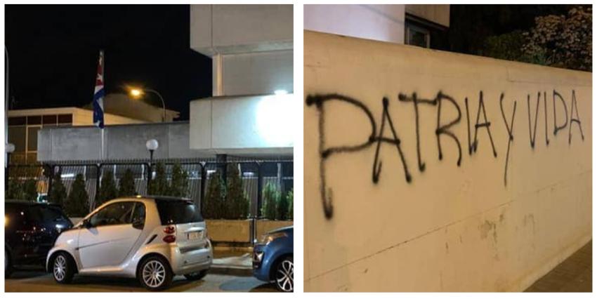 """Lo hacen de nuevo: Pintan """"Patria y Vida"""" en otro Consulado del régimen en España, ahora en el de Madrid"""