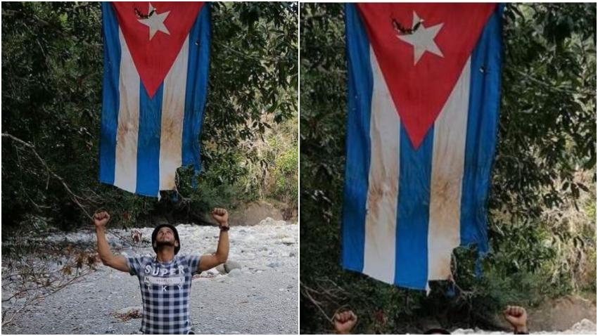 Cubano encuentra una bandera cubana en la selva y la cuelga para dar esperanza a los cubanos