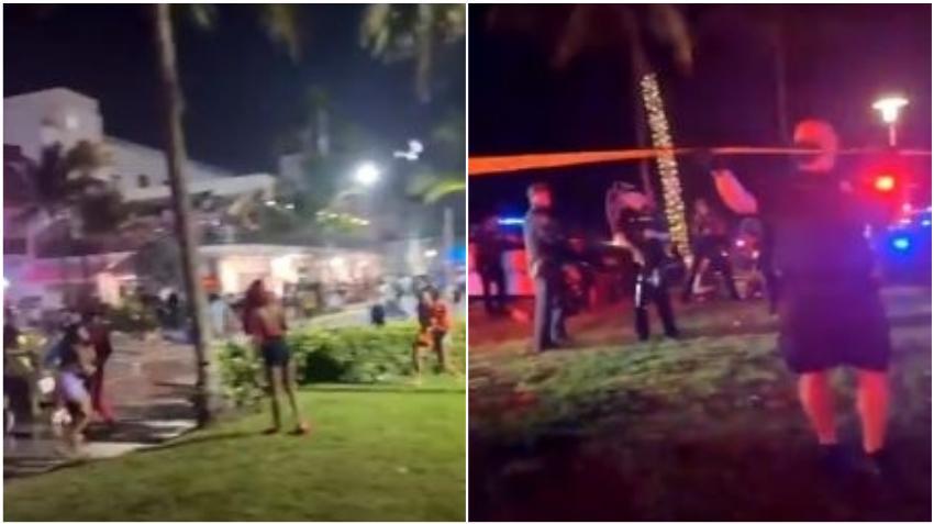 Policías en Miami Beach se ven obligados a disparar bolas de pimienta contra una multitud