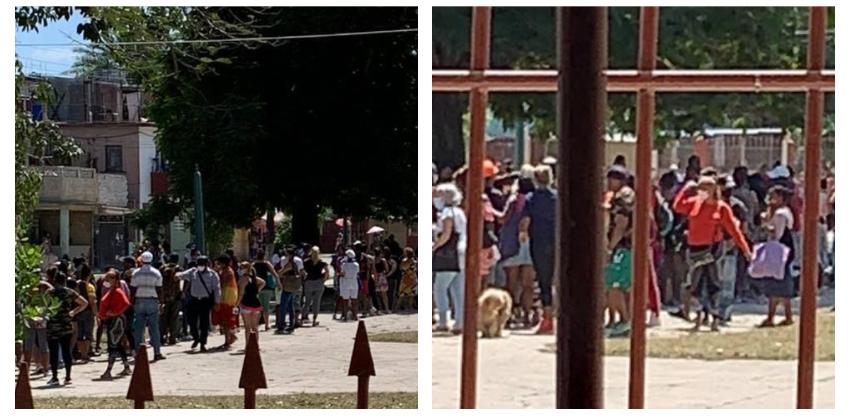 Varias peleas desde temprano en una cola multitudinaria para comprar pollo en la Virgen del Camino