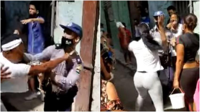 Cubana se enfrenta a golpes con la policía en La Habana