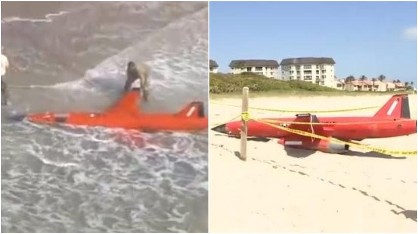 Un dron militar de la Fuerza Aérea de EE. UU. llega a orillas de una playa en Florida