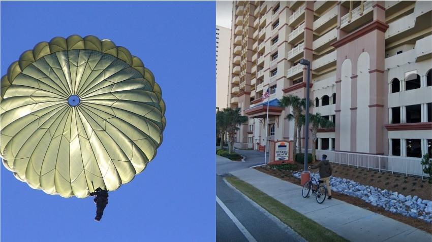 Hombre muere después de un salto fallido en paracaídas desde el balcón de un hotel en Florida