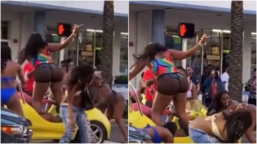 Grupo de mujeres bailando paran el tráfico en Miami Beach