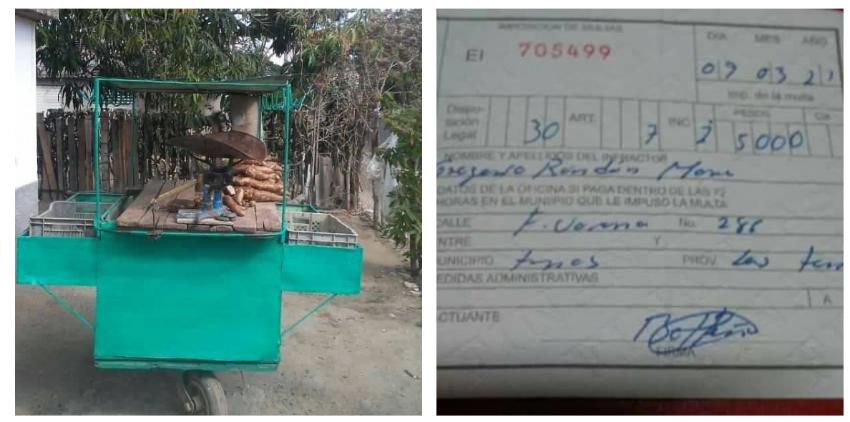Decomisan productos a un cuentapropista en Las Tunas, tras imponerle una multa de 5.000 pesos