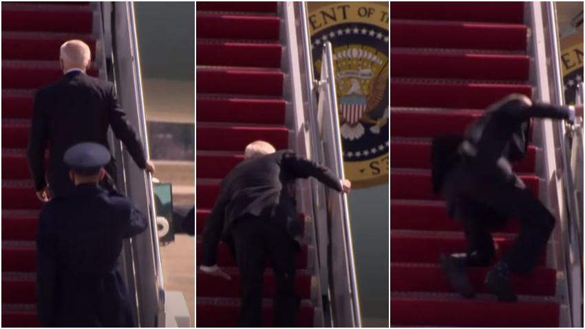 Presidente Joe Biden tropieza varias veces mientras subía al Air Force One
