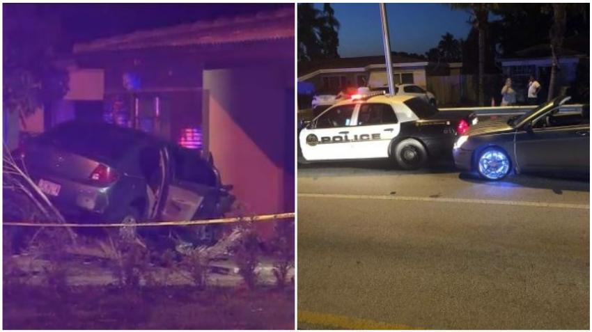 Un vehículo arremete contra una casa en el sur de Florida y poco después otro auto choca con una patrulla en la investigación