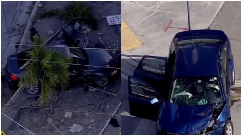 Arrestan a una persona involucrada en un robo de auto en Miami que terminó estrellado contra una cerca