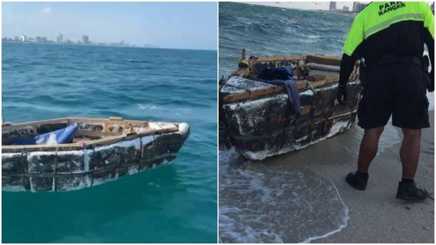 Bote rústico usado por balseros cubanos es visto vacío en las costas de Miami