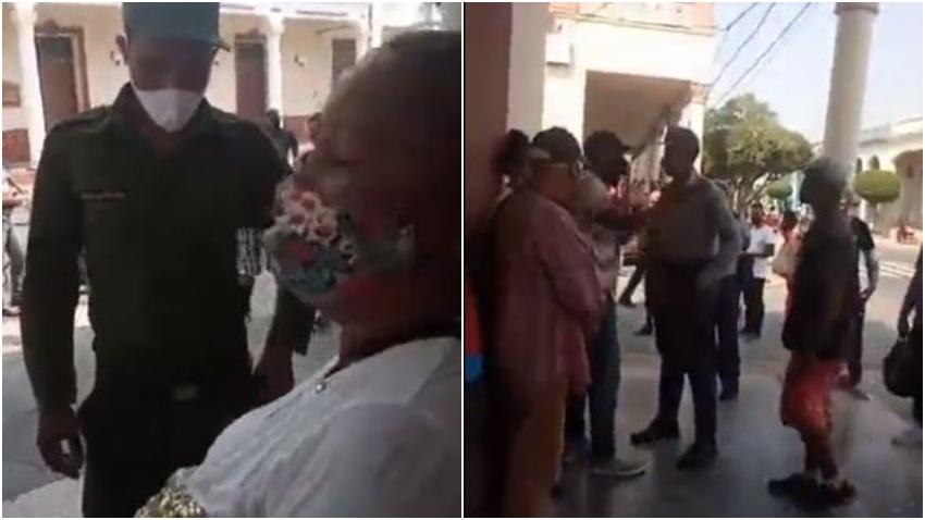 """Cubanos multados en Las Tunas se enfrentan a los represores: """"Aquí es Patria y Vida, no más Patria o Muerte! Ya está bueno de tanto abuso"""""""