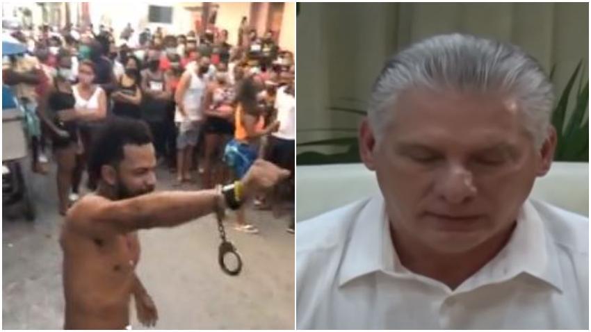 Cubanos en San Isidro le dedican un coro a Miguel Díaz-Canel