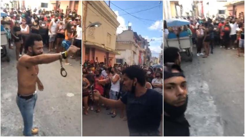 Maykel Osorbo, El Funky y Otero Alcántara cantan Patria y Vida en la cara de los represores en la calle con decenas de cubanos coreando