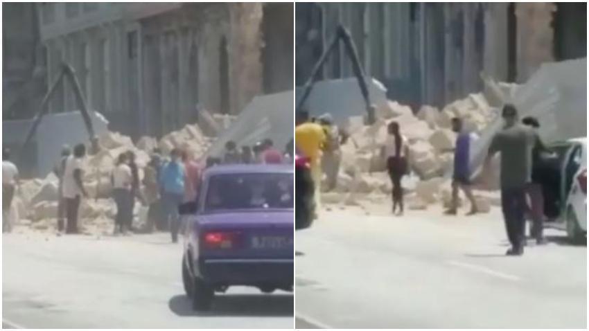 Se derrumba edificio frente al Malecón de La Habana