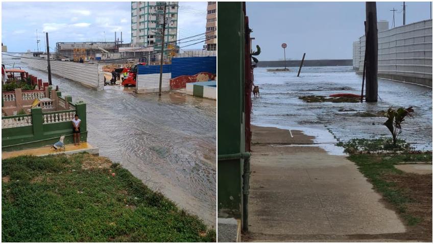 Inundaciones en varias zonas del Malecón de La Habana