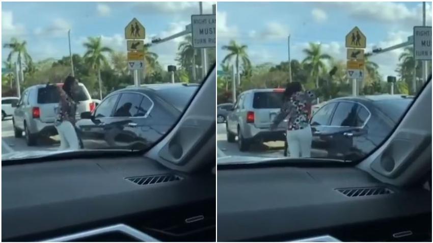 Una mujer arremete a taconazos contra la ventanilla de un conductor en semáforo del suroeste de Miami