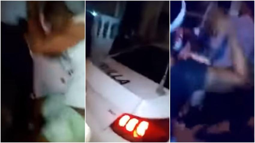 Cubanos cansados del abuso sacan a un joven de una patrulla de la policía en Cuba