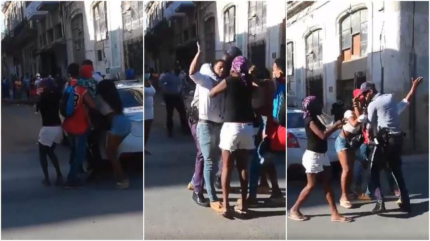 Salen a la luz imágenes del momento en que cubanos en San Isidro impiden que arresten a Maykel Osorbo