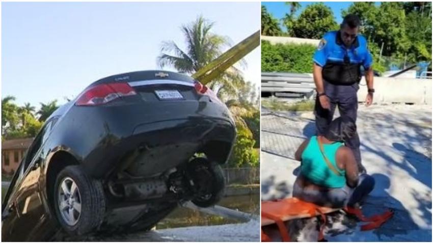 Policía fuera de servicio salva la vida de una mujer que cayó a un canal tras accidente en Miami