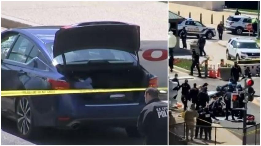 Dos policías del Capitolio de EE. UU. heridos después que una persona arremetiera su auto contra una barricada