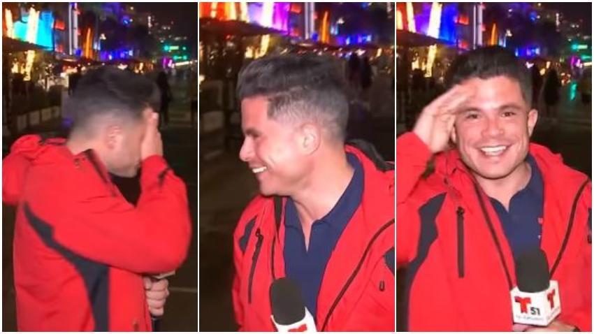 """Periodista Yusnaby se toma con humor """"Metedura de pata"""" transmitiendo desde Miami Beach: """"Aquí estamos desde La Habana"""""""