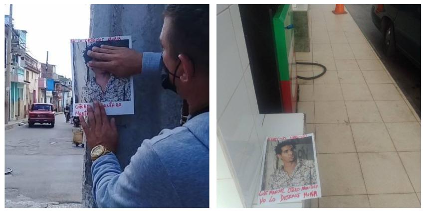 Activistas llenan Santa Clara de imágenes de Otero Alcántara con el letrero ¡Libertad!