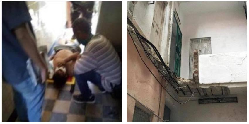Cubano herido tras derrumbe de un balcón interior en La Habana