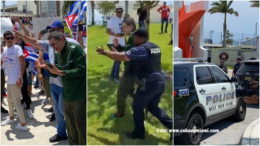 Edmundo García es sacado por la policía después de que llegara a provocar a los exiliados cubanos en West Palm Beach