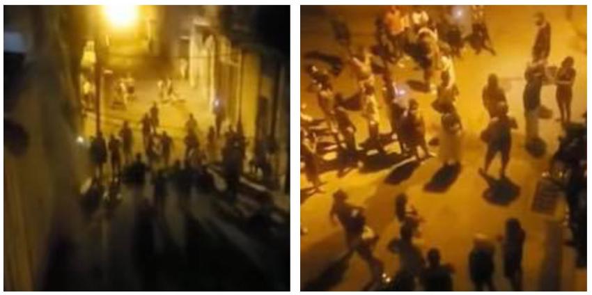 """Se lanzan a la calle vecinos de Jesús María, en La Habana Vieja, con consignas de: """"¡Abajo Díaz-Canel! y de ¡Patria y Vida!"""""""