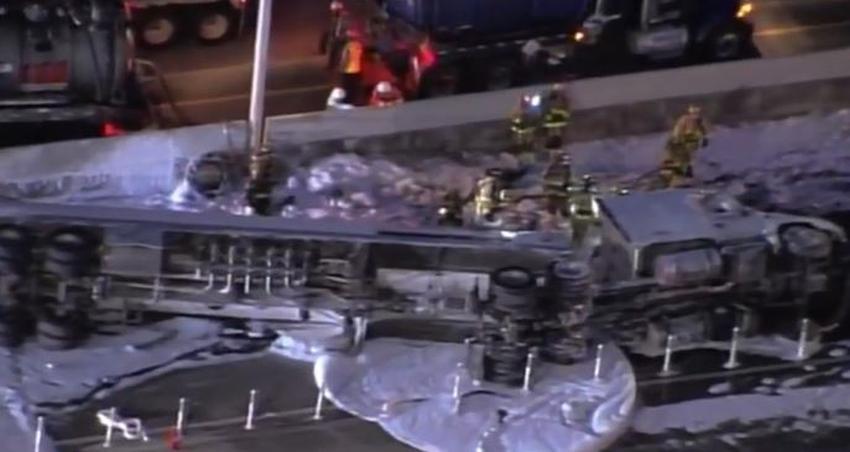Un camión de petróleo se vuelca en la I-95 en Broward, provoca el cierre de todos los carriles en ambas direcciones