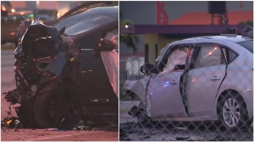 Un automóvil cruza las vías y choca de frente con otro auto en Hialeah Gardens, tres personas mueren