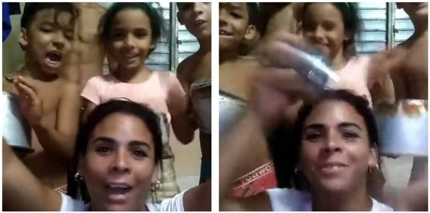 Madre cubana y sus cuatro niños protagonizan cacerolazo: ¡Abajo la dictadura!