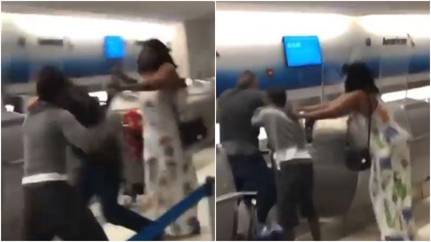 En cámara fuerte pelea en el mostrador de American Airlines en el Aeropuerto de Miami