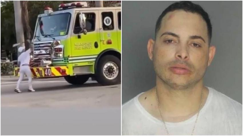 Identifican a reguetonero cubano de Miami que atacó con un bate un camión de bombero de Miami Dade en plena Calle 8