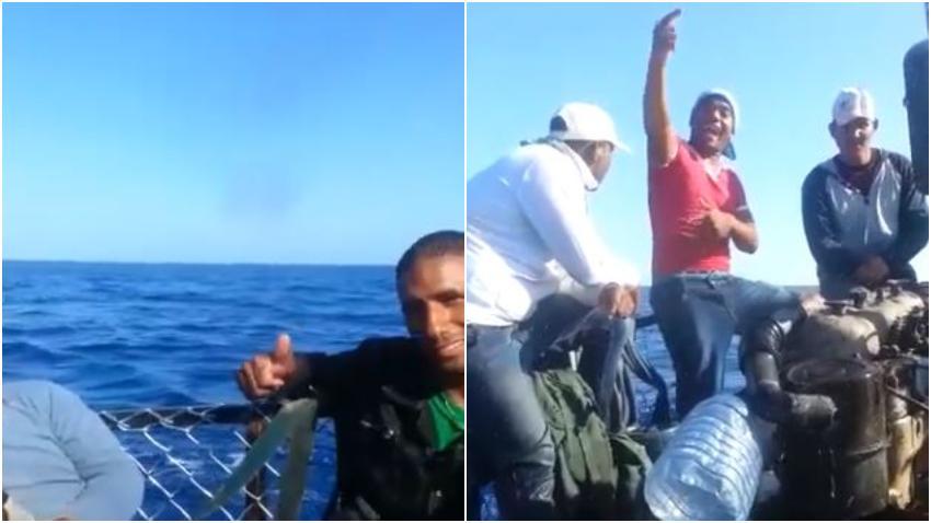 Imágenes de grupo de balseros cubanos durante la travesía tratando de llegar a Estados Unidos